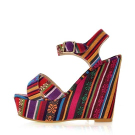 Ethnic Style Peep-Toe Wedge Sandals