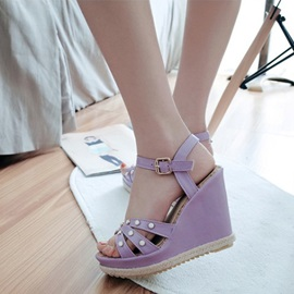 Studded PU Buckles Wedge Sandals