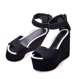 Solid Color PU Back-Zip Wedge Sandals