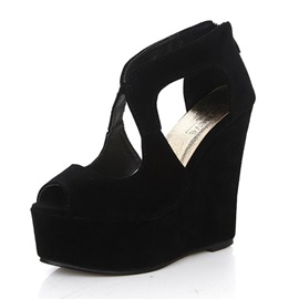Solid Color Suede Peep-Toe Wedge Sandals