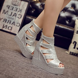 Sequins Cut-Out Covering Heel Wedge Sandals