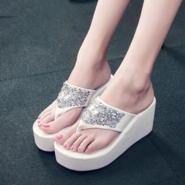 PU Sequins Thong Wedge Sandals