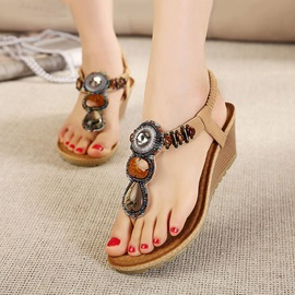 Diamond Thong Wedge Sandals