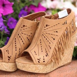 Tassels Peep-Toe Side Zipper Wedge Sandals