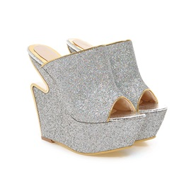 Sequins Peep-Toe Strange Heel Wedge Sandals