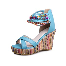 Boho Beading Covering Heel Wedge Sandals
