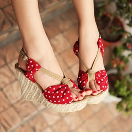 Bowtie Polk Dots Wedge Sandals