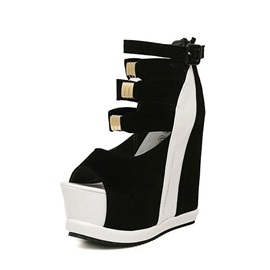 Color Block Buckles Peep-Toe Wedge Sandals