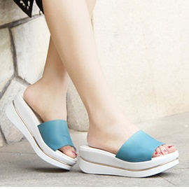 Simple Style Slip-On Wedge Sandals