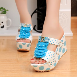 Studded Polk Dots Slip-On Wedge Sandals