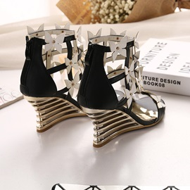 PU Butterfly Wedge Sandals
