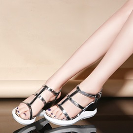 Solid Color PU T-Strap Wedge Sandals