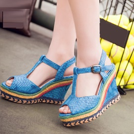 Embossed PU Peep-Toe Wedge Sandals