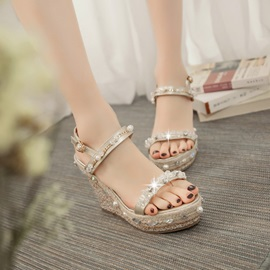 Sequins & Rhinestone Wedge Sandals