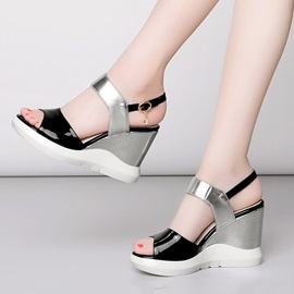 PU Color Block Wedge Sandals