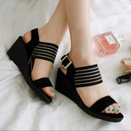 Striped PU Buckles Wedge Sandals