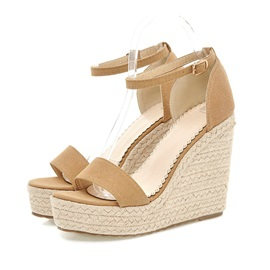 Suede Ankle Strap Crochet Wedge Sandals