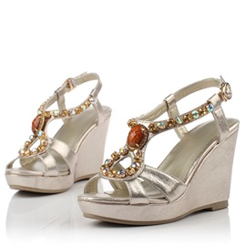 Boho Diamond Peep-Toe Wedge Sandals