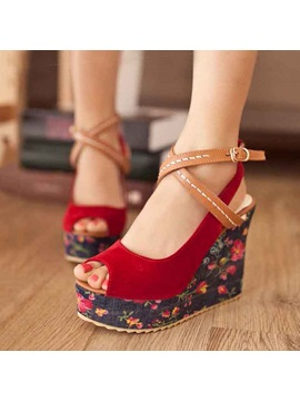 Floral Printed Suede Peep-Toe Wedge Sandals