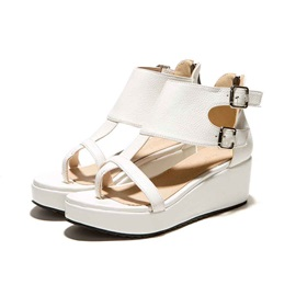 Solid Color PU Thong Wedge Sandals
