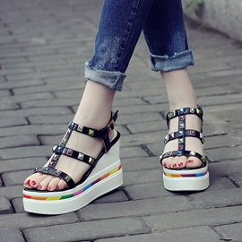 PU Rivets Buckles Wedge Sandals