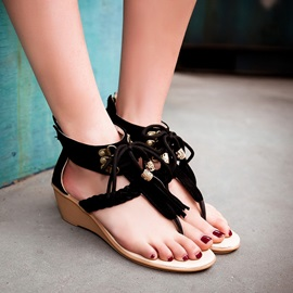 Suede Tassels Back-Zip Wedge Sandals