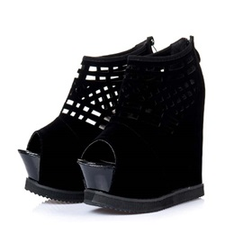 Black Cut-Out Peep-Toe Wedge Sandals