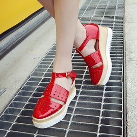 PU Hollow Buckles Wedge Sandals