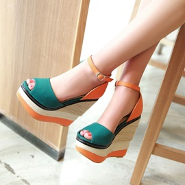 Contrast Color Peep-Toe Wedge Sandals