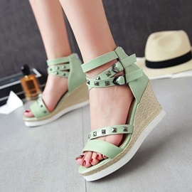 PU Rivets Buckles Covering Heel Wedge Sandals