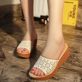 PU Hollow Slip-On Wedge Sandals