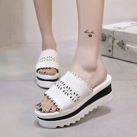 Buy Contrast Color PU Hollow Wedge Sandals
