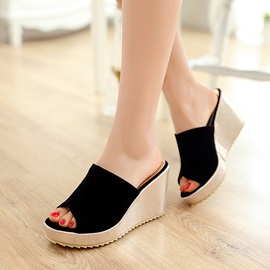 Suede Peep-Toe Wedge Sandals Plus Size Avilable