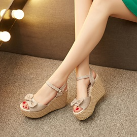 Bowknots Sequins Buckles Wedge Sandals