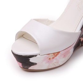 Floral Printed Ankle Strap Wedge Sandals