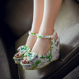 Bowtie Floral Printed Wedge Sandals