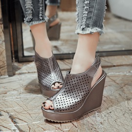 PU Hollow Peep-Toe Velcro Wedge Sandals