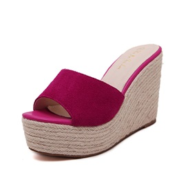 Solid Color Suede Crochet Wedge Sandals