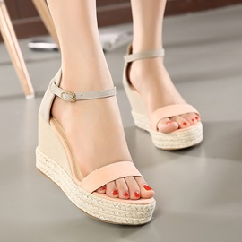 Suede Crochet Covering Heel Wedge Sandals