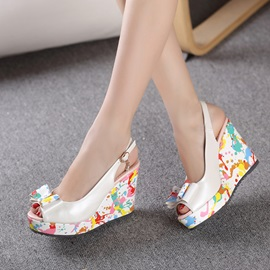 Bowtie Printed Peep-Toe Wedge Sandals