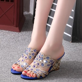 PU Slip-On Rhinestone Luminous Women