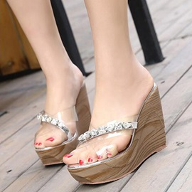 PVC Slip-On Rhinestone See-Through Women's Wedge Shoes