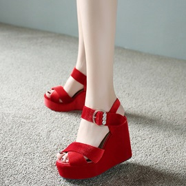 Suede Line-Style Buckle Rhinestone Women's Wedge Sandals