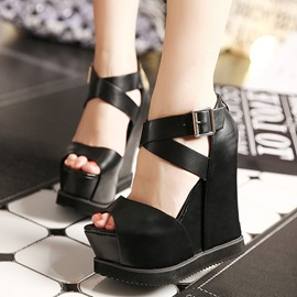 PU Zipper Wedge Heel White and Black Women