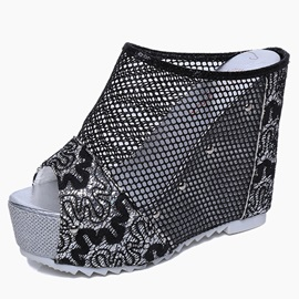Mesh Slip-On Hollow Platform Women's Wedge Sandals