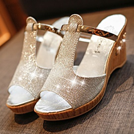 PU Glittering Slip-On Wedge Heel Rhinestone Women's Sandals