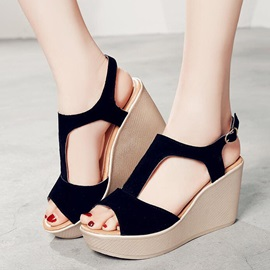 PU T-Shaped Buckle Platform Stylish Sandals