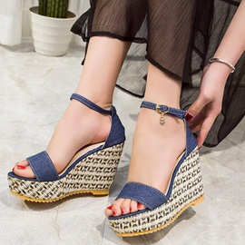 Canvas Line-Style Buckle Women's Wedge Sandals