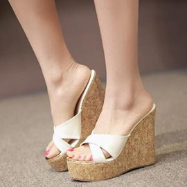PU Slip-On Elegant Open Toe Women's Wedge Sandals