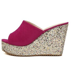 Suede Slip-On Sequin Women's Wedges